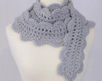 Crocheted Scalloped Scarf - Heather Grey - Handmade