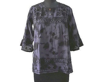 Bohemian Midnight Blue Tie-dye Beaded Womens Top