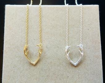 Antler necklace, Dainty antler necklace, Minimalist antler necklace, Gold antler pendant, Silver antler necklace, Dainty animal necklace
