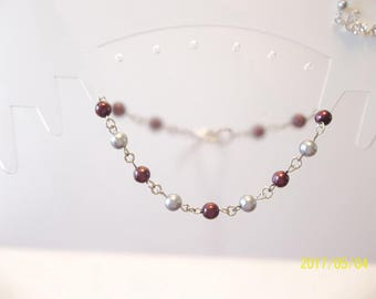 Deep Burgandy & Light Gray Beaded Chain Bracelet