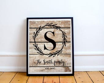 Last Name Print, Monogram Gift, Personalized Gift, Family Name Gift, Laurel Printable, Farmhouse, Rustic, Personalized Family, Initial print