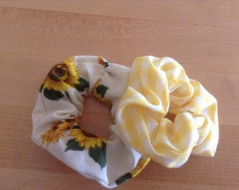 Set of two scrunchies, gingham and sunflower fabric, kids hair accessories, for ponytails and buns, rustic, farm, country, gifts under 10