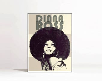Music Poster, Diana Ross Portrait, Music Art Print, Singer Portrait, Music Printable, Musician Print, Diana Ross Poster, Instant Download
