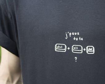 I can you you CTRL + ALT + DEL? Black T-shirt screen printed