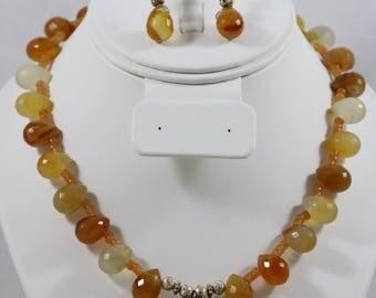 Silver Tone Orange Garnet Chunky Bead Toggle Back Necklace Ram Goat Pendant Dangle Lever Back Earrings Parure Set