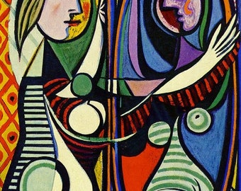 Pablo Picasso girl in front of mirror print