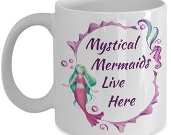 Mystical Mermaid Coffee, Tea, Hot Chocolate Mug, 11, 15 oz, gift for girls, mermaid image, Christmas gift, custom-designed, unique