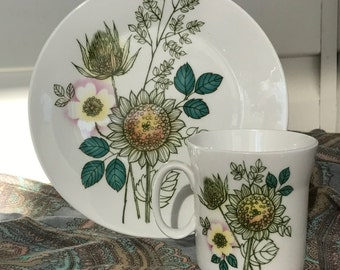 Sunflowers - Hi Summer - Vintage Ceramic - Cup and Plate - Shipping Included