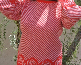 1960s RED STRIPPED SWEATER// size medium// vintage