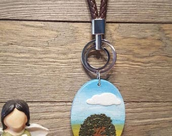 Tree keyring/keychain brown leather
