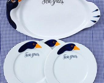 French Vintage Revol Porcelaine Foie Gras Goose Pate White Serving Plate set of 4