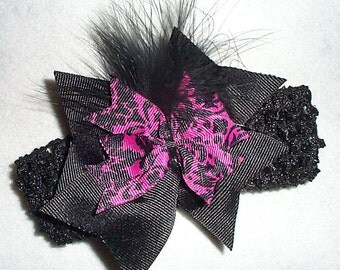 Black and pink feather headband infant toddler