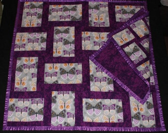 Purple Butterflies, Tag-along, Baby Blanket, Patchwork Quilt, Throw, Lovie, Purple, Butterflies