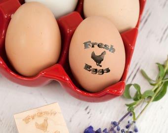 Egg Stamp - Chickens - Wooden Egg Stamp - Fresh Eggs Stamp -  Farm Fresh Eggs - Chicken Coop - Homestead Stamp - Rubber Stamp