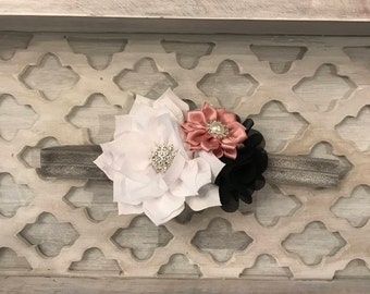 White Pink Gray Trio Flower Couture Headband for Baby