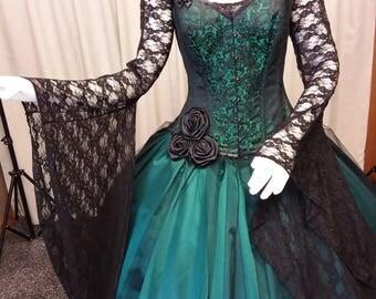 Gothic wedding dress, steampunk gown, Victorian corset, halloween wedding dress, Whitby goth, waist reducing corset, vampire gown.