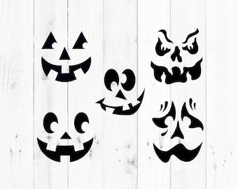Pumpkin Faces Svg, jack o lantern Svg, svg, dxf, eps, png, Pdf - Download - Cut File, Clipart - Cricut Explorer - Silhouette Cameo