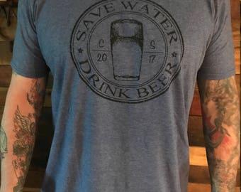 Save water, Drink Beer - Anvil Heather Blue tee shirt