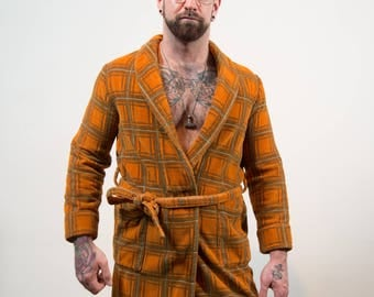 Vintage Men's Robe - Burnt Orange Checkered Plaid Cotton Dressing Gown - Small-Medium - Bedroom Attire- Gift for him
