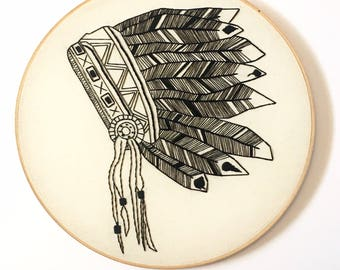 Native American Headdresses Embroidered Hoop