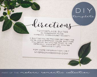 Wedding Directions Card - Modern Romantic Collection - Directions Card - DIY Printable Black and White