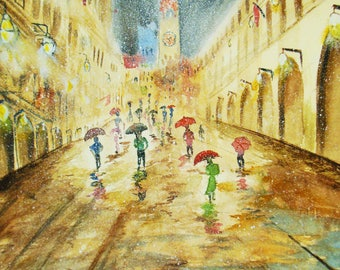 Rainy street - watercolor on Arches paper - reflections in rain. - watercolor art 12x16 - housewarming gift - original painting