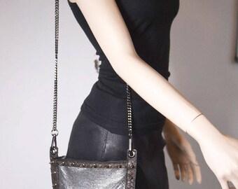 Studded Glomesh Handbag - Genuine Leather