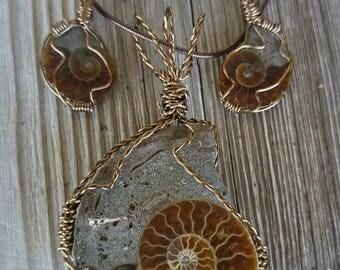 Ammonite Set (Earrings/ Necklace)