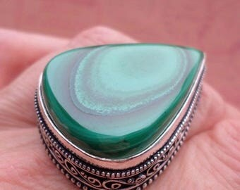RING 925 sterling silver and Malachite (BA 59-159)