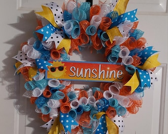 Orange Blue White Yellow Summer Sunshine Sign Deco Mesh Wreath Wall Door Decor