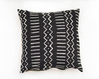 Black African Mudcloth Pillow No.43