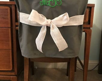 Desk Chair Covers/Gray Monogrammed Dorm Chair Back Cover / Personalized Chair  Cover / Office Part 66