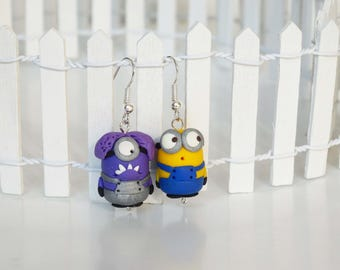 Minions earrings,Minions dangle,Dangle earrings,Polymer clay,Kids earrings,Polymer clay earrings,Polymer Clay Minions,Birthday Gifts,