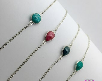 Women Sterling Silver Bracelet with different Gemstones: Garnet, Apatite, Amazonite