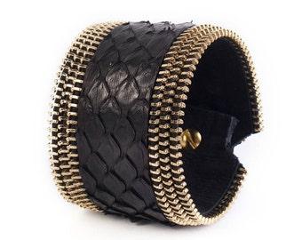 Womens bracelet, Zipper cuff bracelet, Leather cuff bracelet, Golden leather cuff , Wrist bracelet, Rustic jewelry, Rustic bracelets