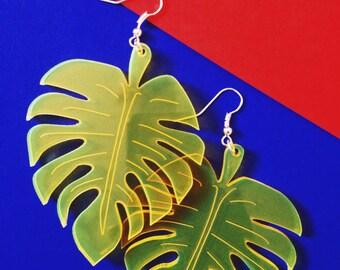 Palm leaf earrings ~ Big yellow perspex acrylic laser cut tropical fluorescent carnival summer earrings // festival jewellery