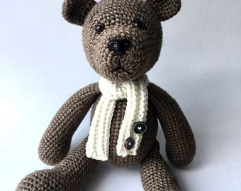 Amigurumi crochet bear with scarf Crochet toy Amigurumi toy Brown bear Crochet animal Amigurumi animal Handmade bear Baby gift free shipping