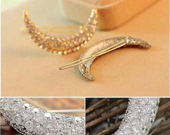 Hair bow jewelry-Crystal moon to Moon-Crystal - gift women-Moonstone Crystal-Moon hair Clip accessory hair clip hair