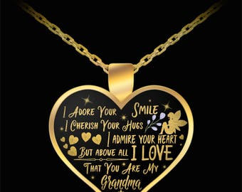 Grandmother Grandma Valentine's Day Gifts Necklace Heart Pendant