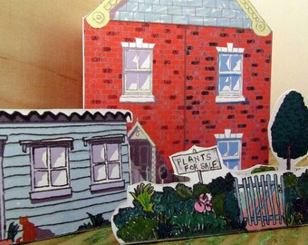 Birthday Card Gardeners Cottage Cut out and Make with Badge