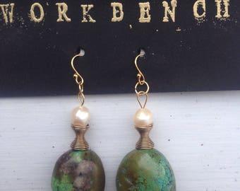Turquoise, Pearl & 14k gold earrings