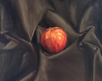 Apple 1 - Dark to Light, Original Oil Painting, Studio Still Life
