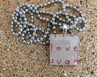 Scrabble Tile Necklace Love