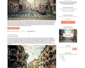 Blogger Template - Elizabeth, Blog Design Template, Blogger Theme, Mobile Responsive, Black and White, Modern, Minimalist, Pink, Peach