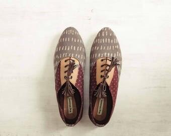 Handcrafted Footwear - Block Print Brogues - VBAFWBO6