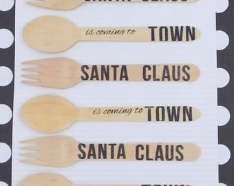 SANTA CLAUSE  wood Spoons, and Wood Forks, Stamped Spoons, Stamped Forks, Stamped wooden Spoons, HotCocoa, Winter Fun