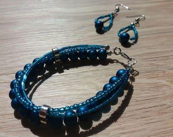 Necklace, bracelet, earrings, blue, shades of blue