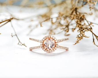Rose Gold Morganite Engagement Ring Halo Diamond Split Shank Cage Eternity Wedding Ring Antique Bridal Anniversary Gift For Her Women