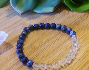 Universal Truth, Psychic Protection & Amplify Energy- Lapis Lazuli and Clear Quartz Stretch Bracelet