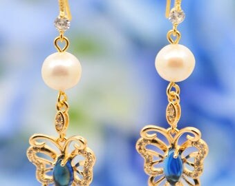 gorgeous freshwater pearl earrings with Japan Kiwa 14K plated gold butterfly dangle, 14k filled gold hooks and pins, cz stone